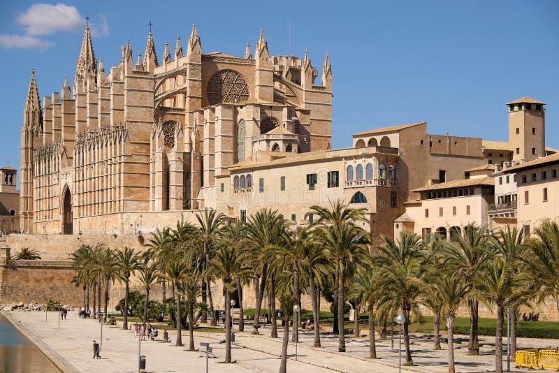 Palma de Mallorca, Espanha - 24 de março de 2019: opinião do fim da catedral gótico famosa Santa Maria La Seu com jardim da palme fotos de stock