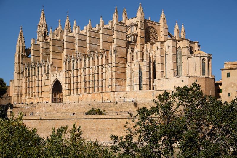 Palma de Mallorca, Espanha - 24 de março de 2019: vista lateral da catedral famosa Santa Maria La Seu foto de stock royalty free