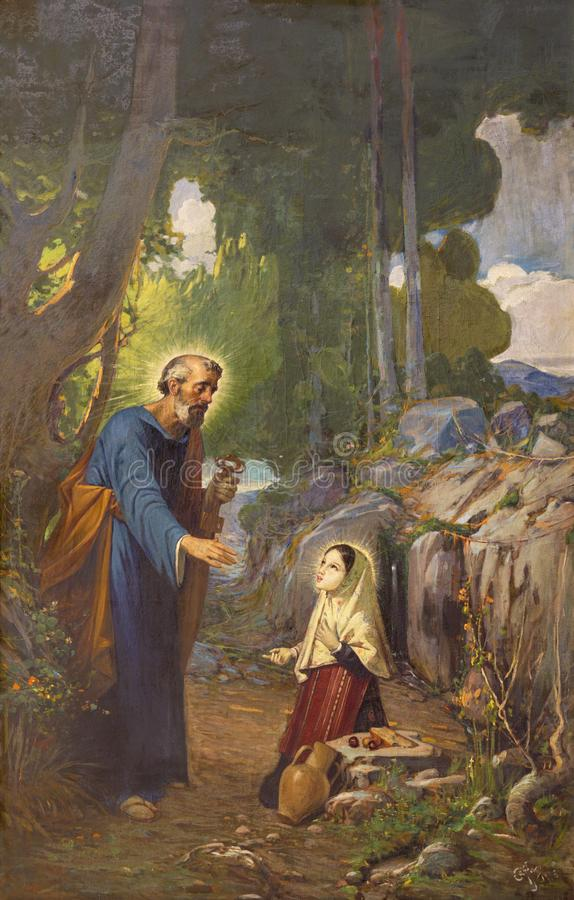 PALMA DE MALLORCA HISZPANIA, STYCZEŃ, - 29, 2019: Obraz apparition St Peter zdjęcie stock