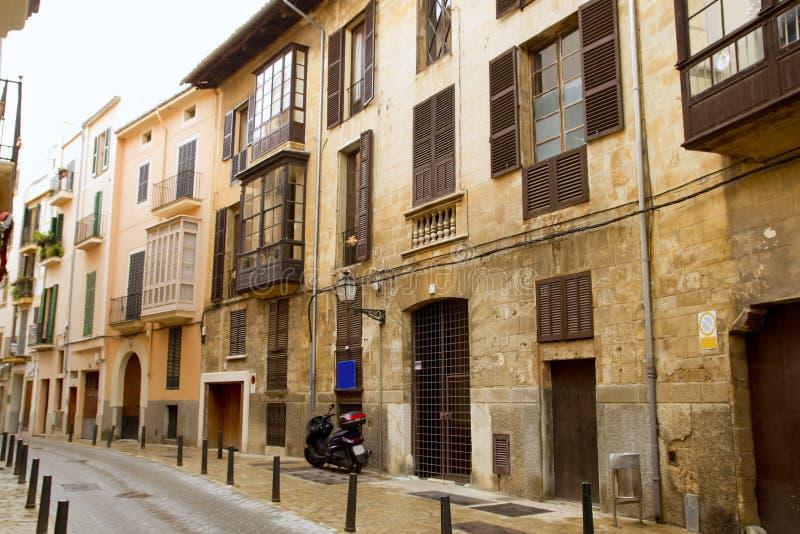 Palma de Mallorca old city Barrio Calatrava street. In Balearic islands royalty free stock images