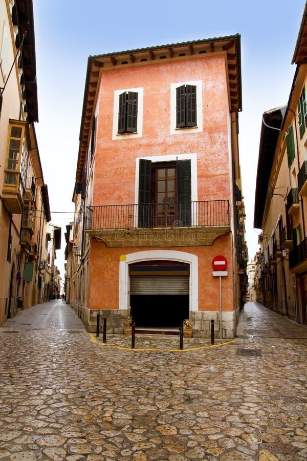 Palma de Mallorca old city Barrio Calatrava street. In Balearic islands stock images