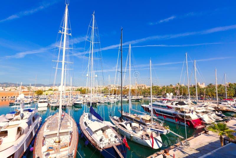 Palma de Mallorca port marina in Majorca Balearic stock images