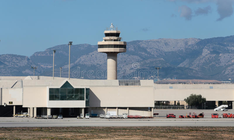 Palma de mallorca side view Airport and control tower. Palma de Majorca Son Sant Joan control tower airport side view, in the Spanish Balearic island of Mallorca royalty free stock photos