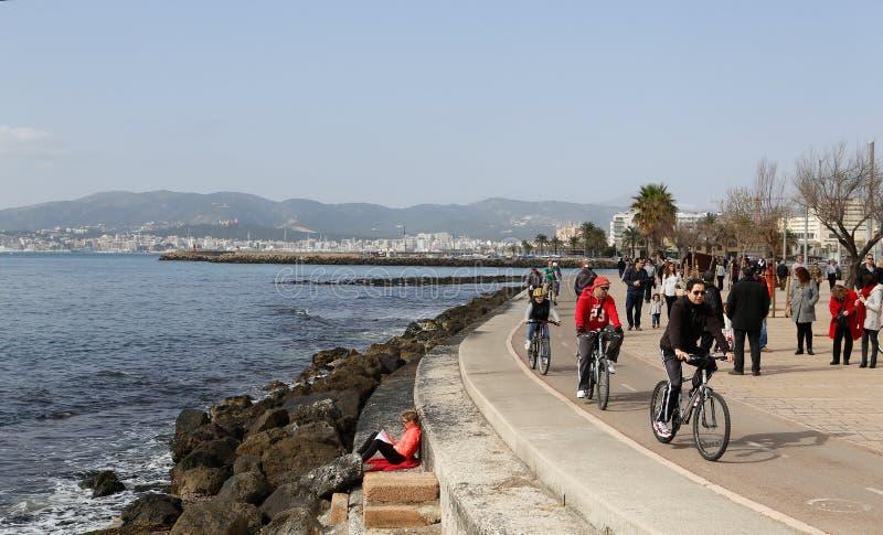 Palma de Mallorca sjösidapromenad under vinter fotografering för bildbyråer