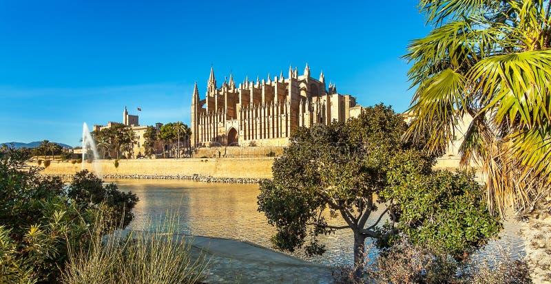 Palma de Mallorca Mallorca Spain alla La Seu della cattedrale fotografia stock libera da diritti