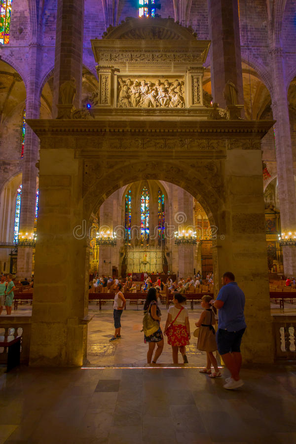 Free PALMA DE MALLORCA, SPAIN - AUGUST 18 2017: Interior View Of Cathedral Of Santa Maria Of Palma La Seu In Palma De Stock Images - 98882484