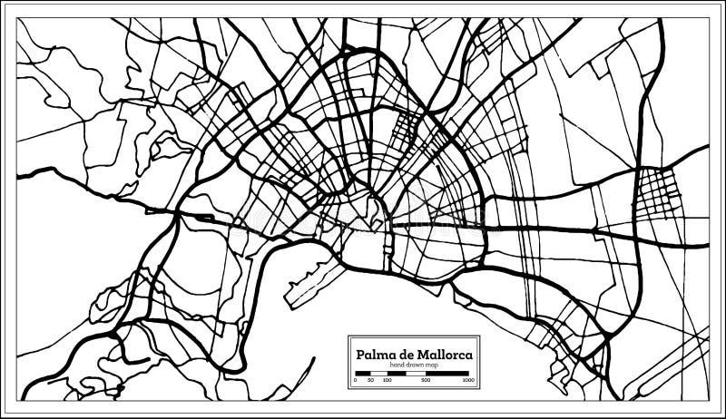 Palma de Mallorca Spain City Map im Retrostil Antilocapra Americana lizenzfreie abbildung