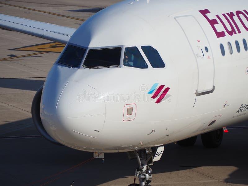 Palma de Mallorca, Spain. Eurowings Airbus A320 at Palma de Majorca airport is taxiing to the terminal royalty free stock images