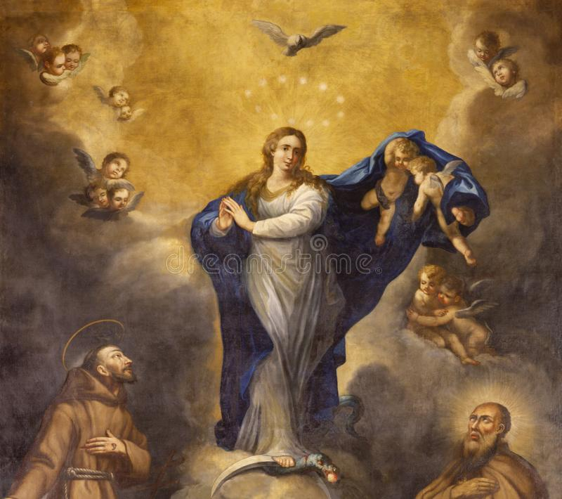 PALMA DE MALLORCA, SPAIN - JANUARY 29, 2019: The painting of Immaculate Conception in the Capuchin church by Joan Muntaner Cladera royalty free stock photos