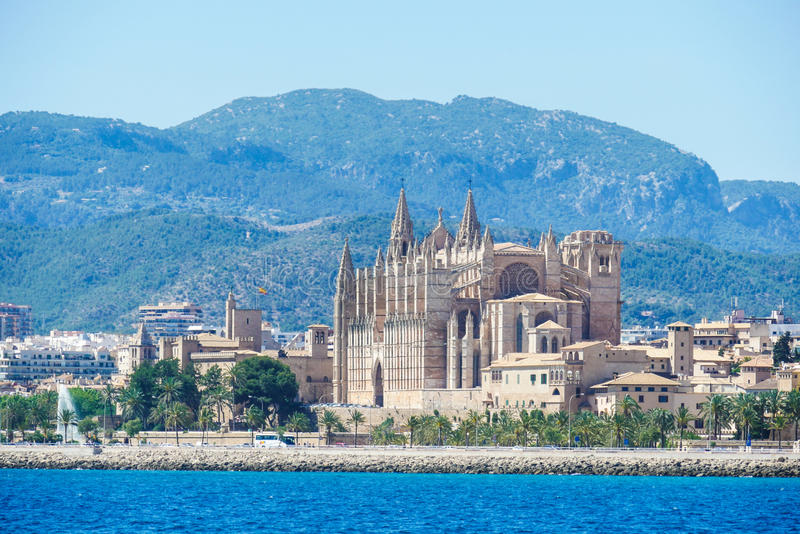 Palma de Mallorca, Spain. La Seu, view form the sea. Famous medieval gothic catholic cathedral in the capital of the island royalty free stock photography