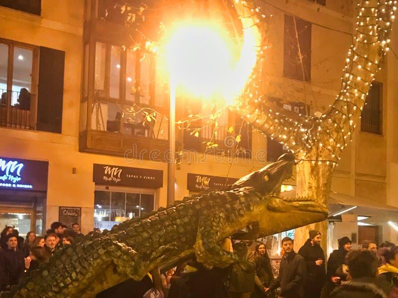 Palma de Mallorca in spain. 24.04.2019. local party at mallorca island. Alligathor party royalty free stock photo