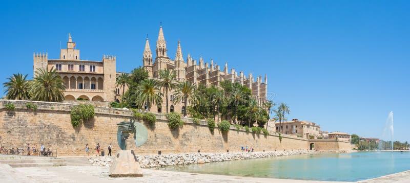 Palma de Mallorca, Spain. The Royal Palace of La Almudaina and the gothic Cathedral of Santa Maria. Summer time stock photos