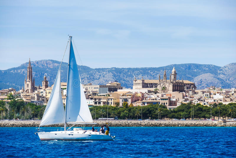 Palma de Mallorca, Spain. View from the sea with boath on a hot stock image