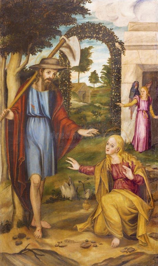 PALMA DE MALLORCA, SPANJE - JANUARI 27, 2019: Het schilderen van de Verschijning van Christus aan Mary Magdalene na de verrijzeni stock afbeeldingen