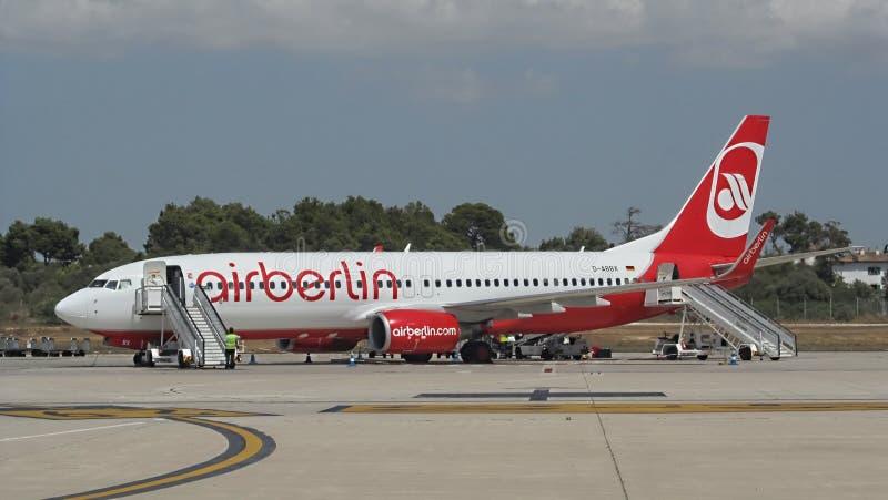 Palma DE Mallorca, Spanje: Lucht Berlijn Boeing 737-800 stock foto