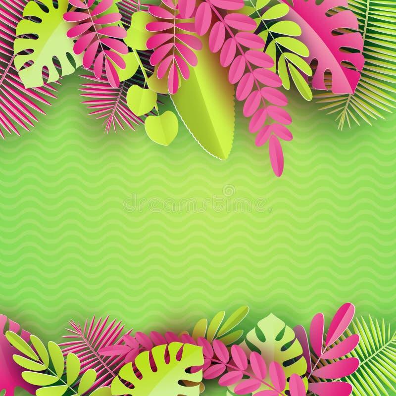 A palma de papel tropical, monstera sae do quadro Folha tropical do verão Selva havaiana exótica do origâmi, fundo do verão ilustração royalty free