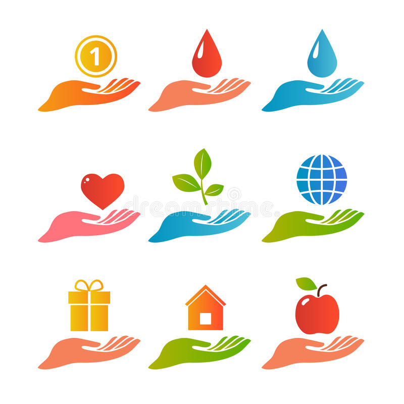 Palma delle mani sull'insieme di logo illustrazione vettoriale