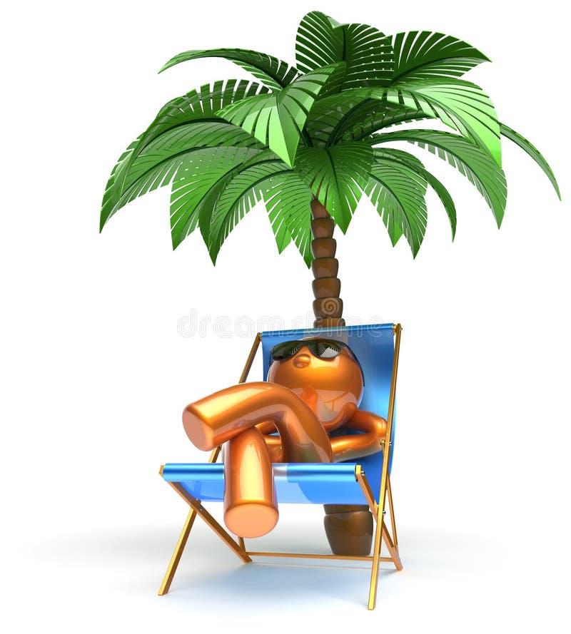 Palma despreocupada de refrigeración de relajación del personaje de dibujos animados de la playa del hombre stock de ilustración