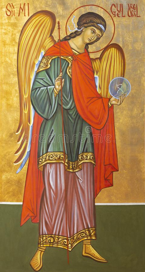 PALMA DI MAIORCA, SPAGNA - 27 GENNAIO 2019: L'icona dell'arcangelo Michael in La Natividad del Senor di Iglesia de della chiesa o immagini stock libere da diritti