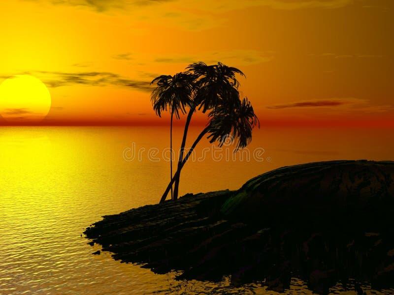 Palma e por do sol fotografia de stock