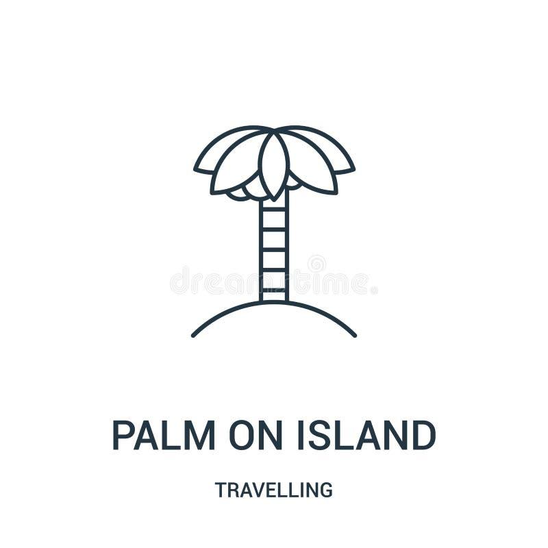 palma en vector del icono de la isla de la colección que viaja Línea fina palma en el ejemplo del vector del icono del esquema de stock de ilustración