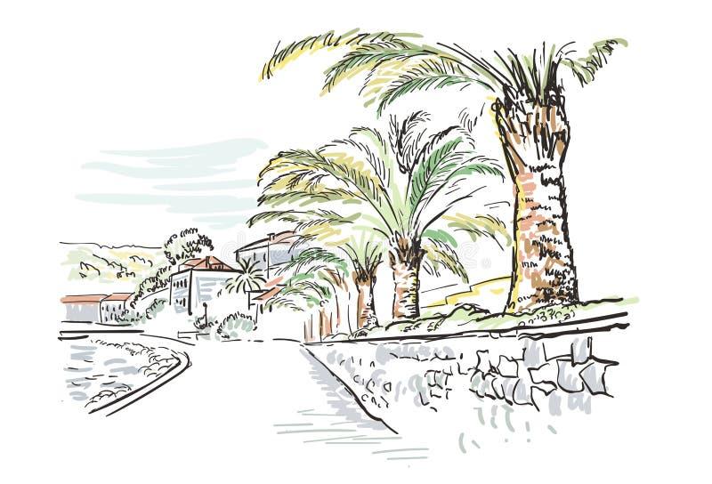 Palma europea della Croazia dell'argine della città dell'illustrazione di schizzo di vettore illustrazione di stock