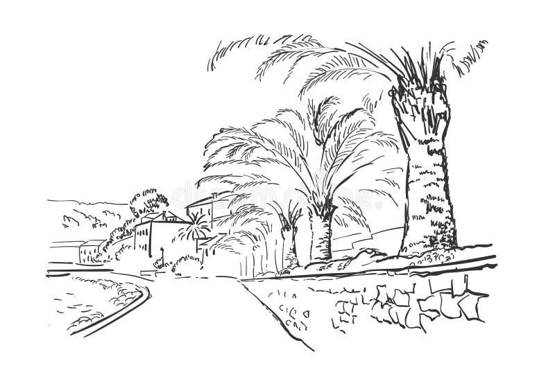 Palma europea della Croazia dell'argine della città dell'illustrazione di schizzo di vettore royalty illustrazione gratis