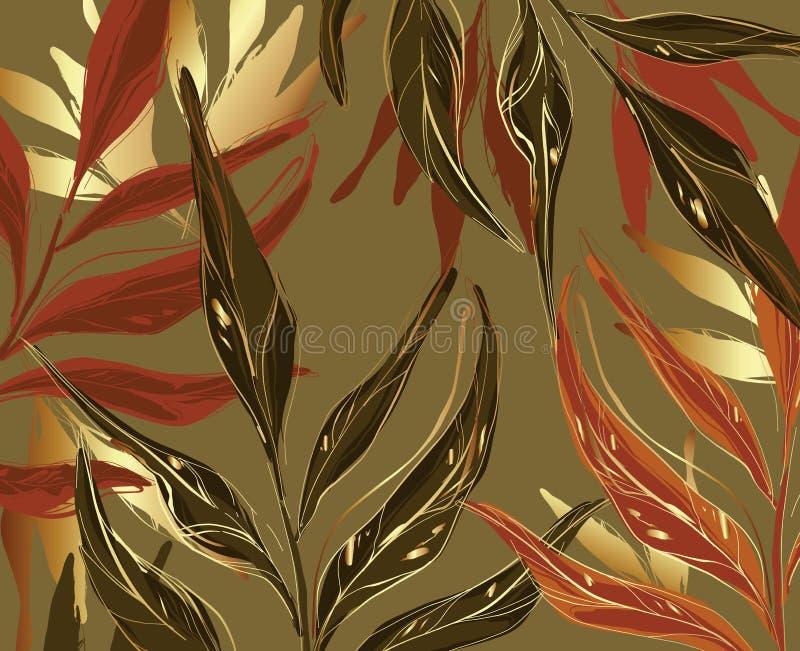 Palma floral e folha de ouro, sem costura, folhas rondadas. Planta de selva tropical sobre fundo verde, tinta de arte de linha ilustração do vetor