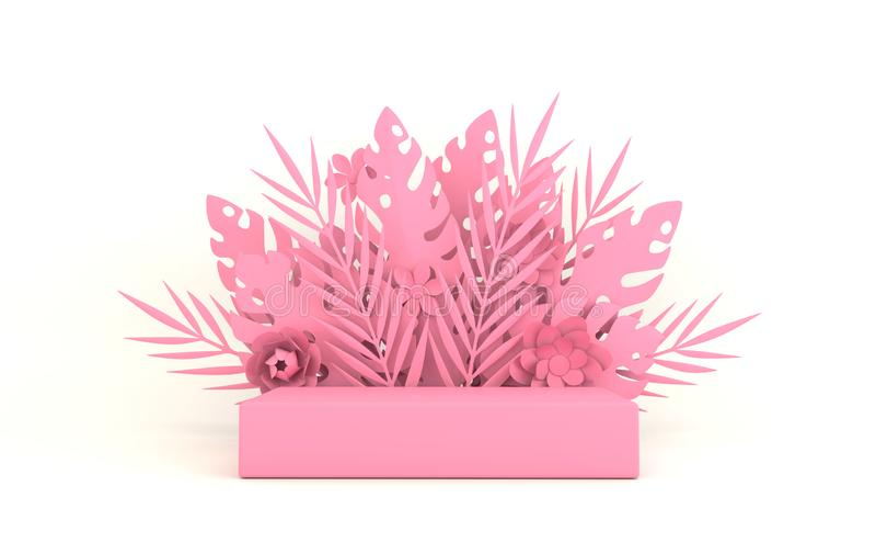 Palma, folhas do monstera e quadro de papel tropicais das flores, plataforma do pódio para a apresentação do produto Folha tropic fotos de stock royalty free