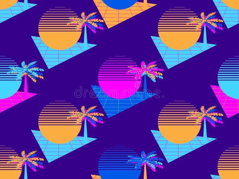 Palma futuristica e modello senza cuciture del sole Retro stile degli anni 80 del fondo di Synthwave Retrowave Vettore royalty illustrazione gratis