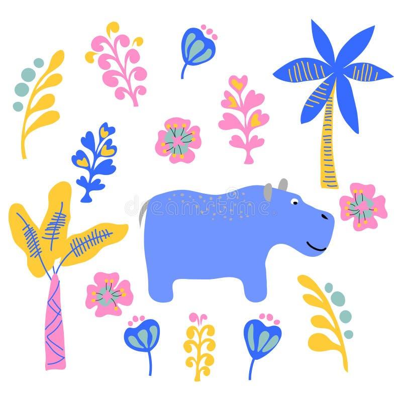 Palma gialla rosa blu semplice della foglia della pianta dell'animale selvatico sveglio del rinoceronte di vettore messa su bianc illustrazione vettoriale