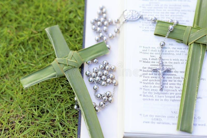 Palma krzyż, różanów koraliki siedzi na otwartej biblii obraz stock