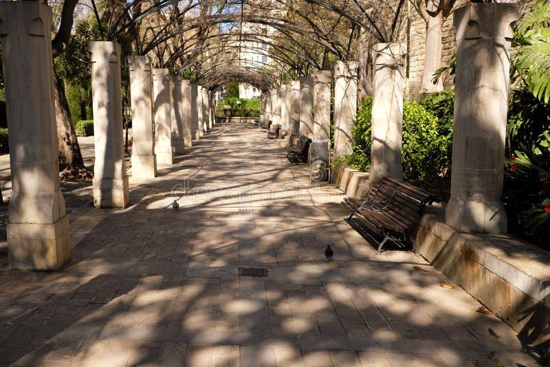Palma Mallorca almudaina kings palace garden arch walkway passage path. Palma Mallorca almudaina kings palace garden arch  walkway passage stock image