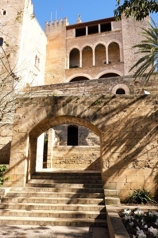 Palma Mallorca almudaina kings palace side entrance garden stone arch vertical. Palma Mallorca almudaina kings palace side entrance garden arch vertical stock photo