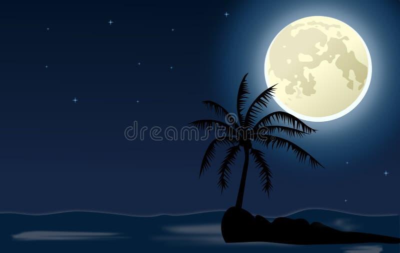 Palma na ilha pequena contra o céu noturno e a lua ilustração do vetor