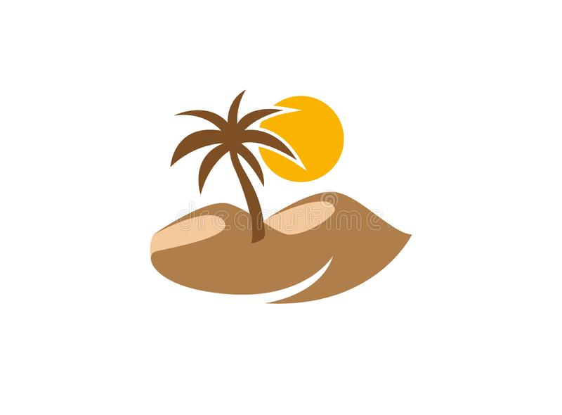Palma no deserto com logotipo do sol e da areia ilustração do vetor