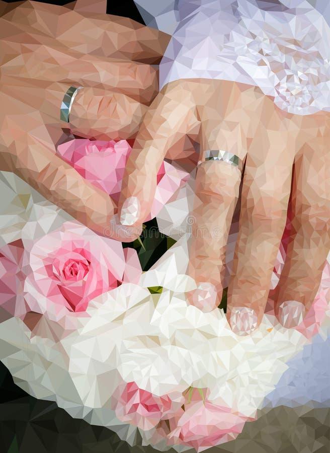 Palma nos aneis de noivado fotografia de stock