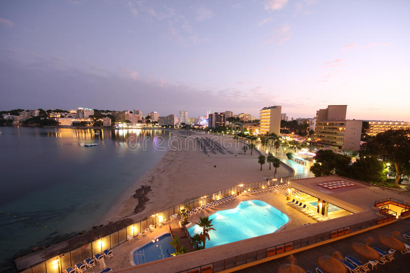 Download Palma Nova at dusk. stock image. Image of beach, palma - 10349509