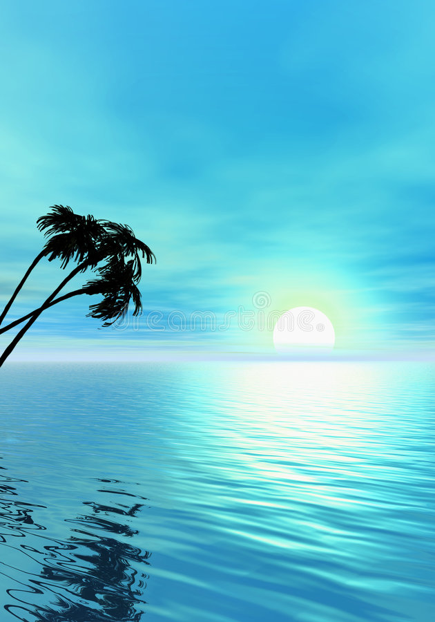 palma oceanu ilustracji