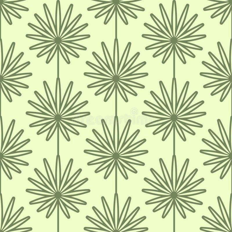Palma opuszcza bezszwowego wektoru wzór Rocznika styl i kolory (zieleń) ilustracja wektor