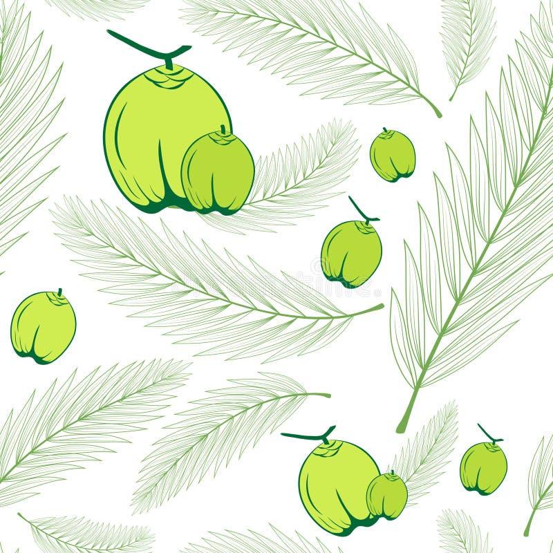 Palma opuszcza i kokosowa owoc zieleń bezszwowy deseniowy tło royalty ilustracja