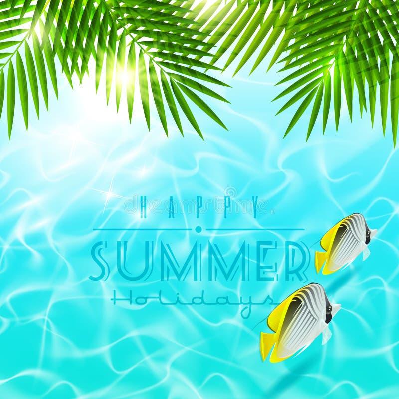 A palma ramifica sobre a água azul com peixes tropicais ilustração stock