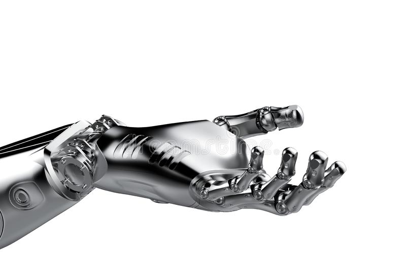 Palma robótica de la mano abierta
