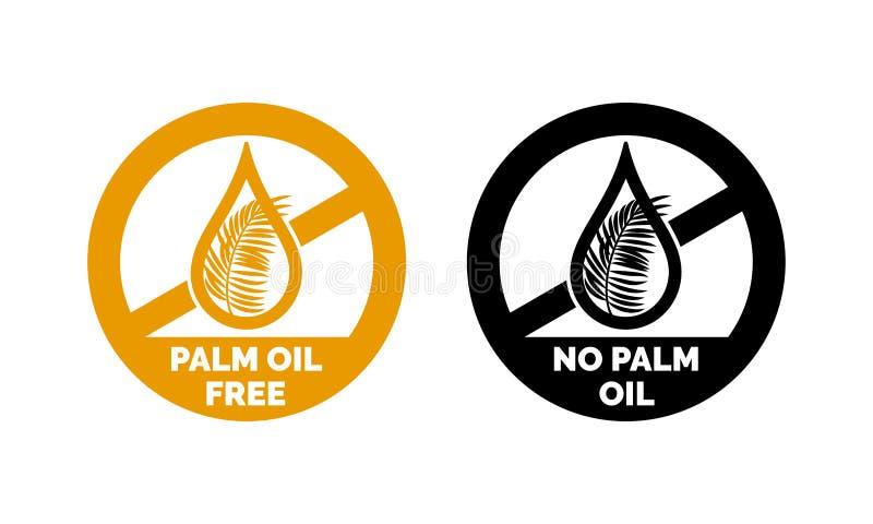 Palma sin aceite ningún icono de la etiqueta del vector del logotipo del aceite de palma ilustración del vector