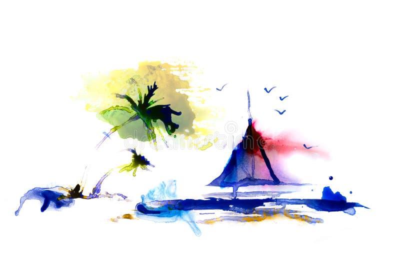 Palma sulla spiaggia e sulla barca a vela, fondo astratto fatto di acquerello con spazio per testo fotografia stock libera da diritti