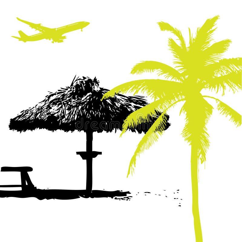 Palma sulla spiaggia, vaca di estate illustrazione di stock