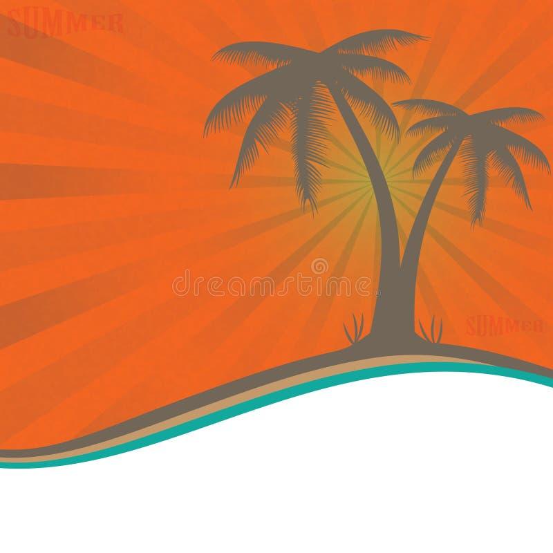 Palmeras de la pizca de las vacaciones de verano. ilustración del vector