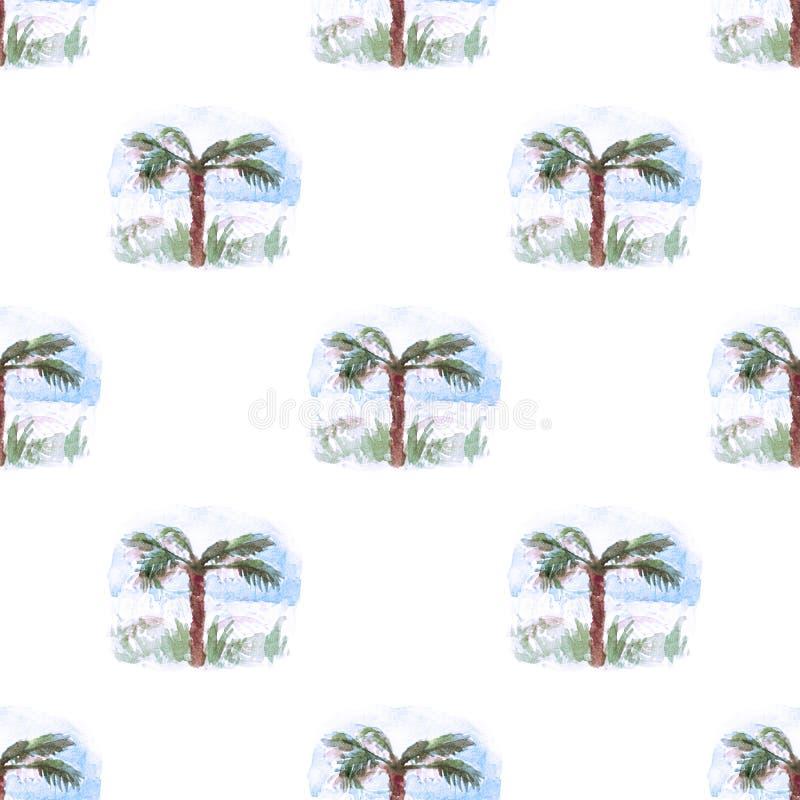Palma tropical que repite el fondo inconsútil del verano de la vegetación de la naturaleza del modelo retro verde de la acuarela  ilustración del vector