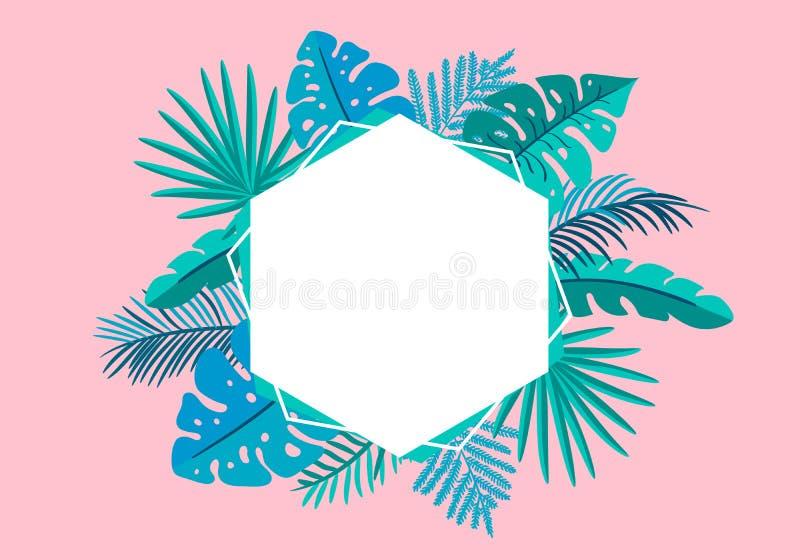 Palma tropicale delle foglie della struttura floreale di vettore di estate con il posto per testo elementi di progettazione di co illustrazione di stock