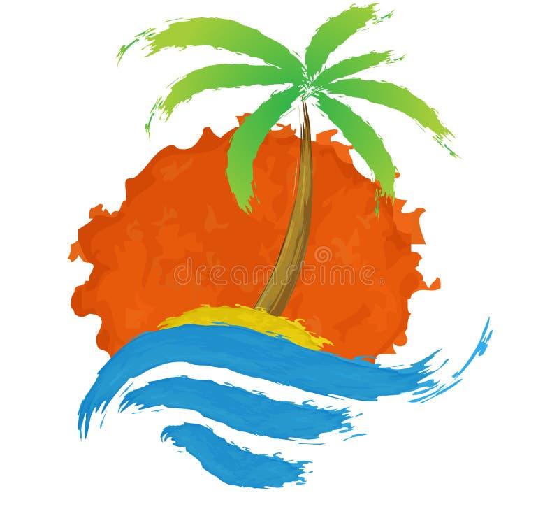 Palma tropicale sull'isola con il mare. illustrazione vettoriale